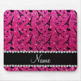 name paris eiffel tower neon hot pink glitter mouse pad