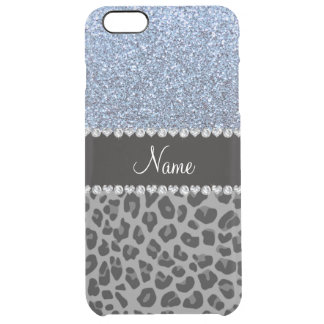 Name pastel blue glitter black leopard clear iPhone 6 plus case