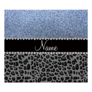 Name pastel blue glitter black leopard poster