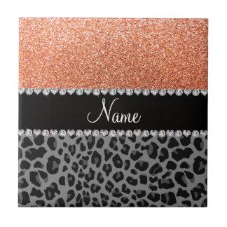 Name pastel orange glitter black leopard ceramic tile