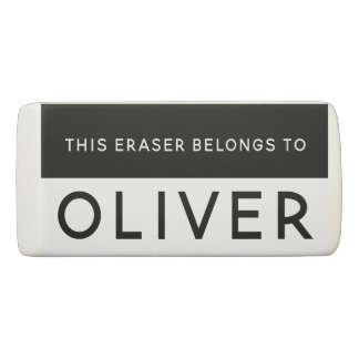 Name Personalized Bold Black and White Eraser