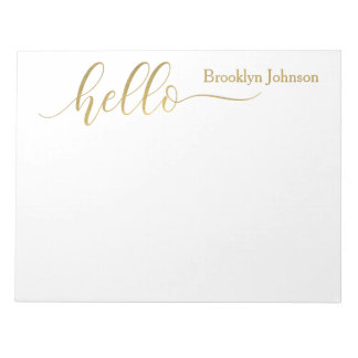 "Name Personalized Stylish Gold ""Hello"" Notepad"