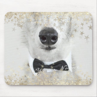 Name Photo Golden Stars Dog Pet Custom Sparkly Mouse Pad