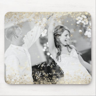Name Photo Golden Stars Wedding Favor Thank You Mouse Pad
