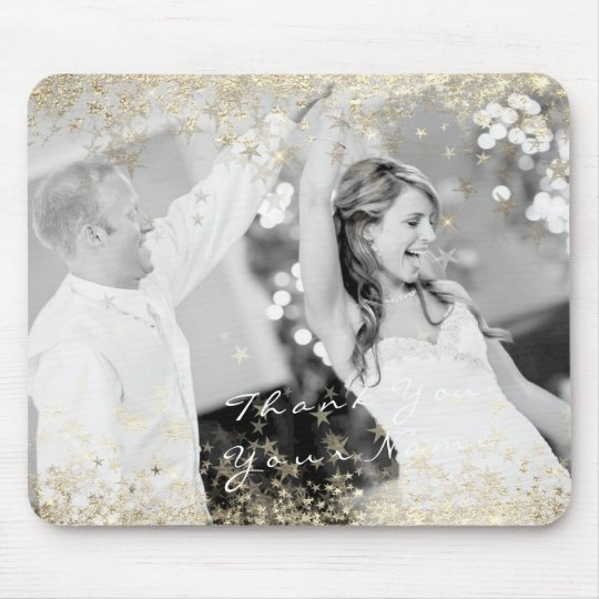 Name Photo Golden Stars Wedding Favour Thank You Mouse Pad