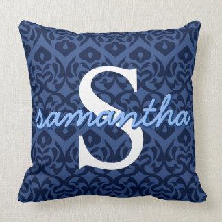 Name Pillow Custom Initial Blue Heart Throw Pillow