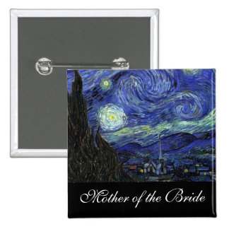 Name pin. Vincent van Gogh, Starry Night 15 Cm Square Badge