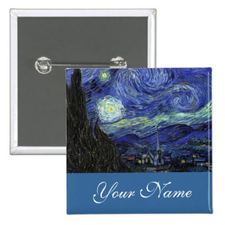 Name pin Vincent van Gogh Starry Night Button