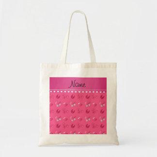 Name pink baby bib blocks carriage booties budget tote bag