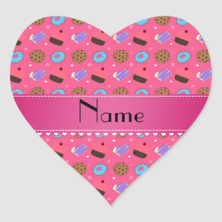 Name pink cupcake donuts cake cookies heart sticker