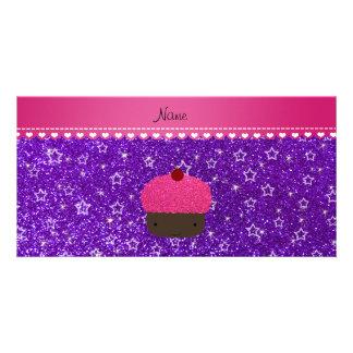 Name pink cupcake indigo purple glitter stars photo card template