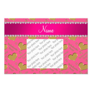 Name pink gold hearts bachelorette party art photo