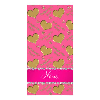 Name pink gold hearts bachelorette party customized photo card