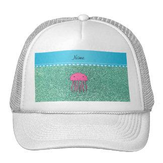 Name pink jellyfish seafoam green glitter cap