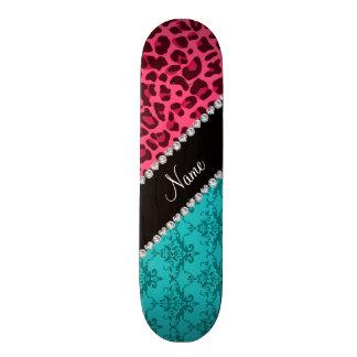 Name pink leopard turquoise damask skate deck