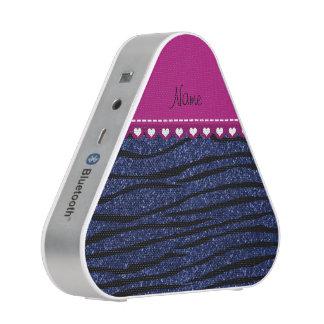 Name pink stripe navy blue glitter zebra stripes