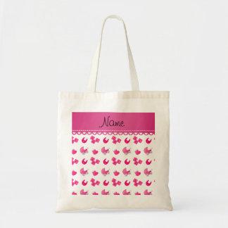 Name pink white baby bib blocks carriage booties budget tote bag