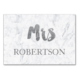 Name place card silver typography marble wedding table card