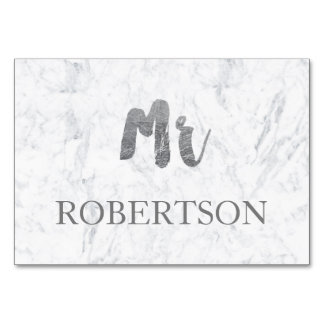 Name place card silver typography marble wedding table cards