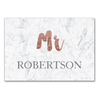 Name place rose gold typography marble wedding table cards