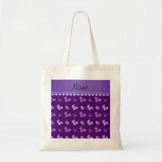 Name purple baby bib blocks carriage booties budget tote bag