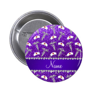 Name purple glitter nurse hats silver caduceus 6 cm round badge