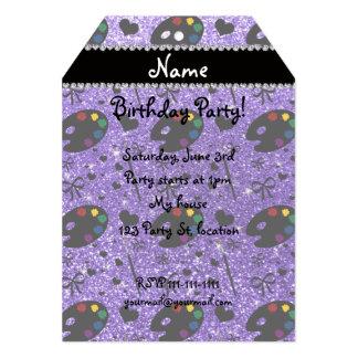 name purple glitter painter palette brushes 13 cm x 18 cm invitation card