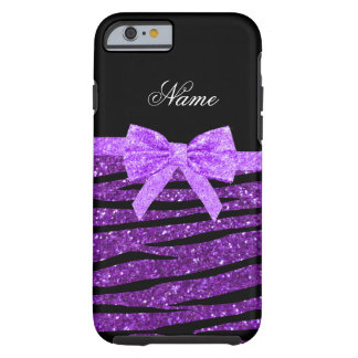 Name purple glitter zebra stripes purple bow tough iPhone 6 case
