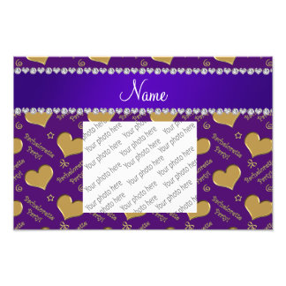 Name purple gold hearts bachelorette party art photo