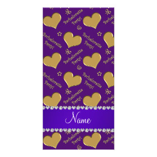 Name purple gold hearts bachelorette party personalised photo card