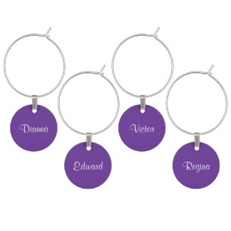 Name Purple Heart Contemporary Color Coordinating Wine Charm