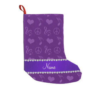 Name purple music notes hearts peace sign small christmas stocking
