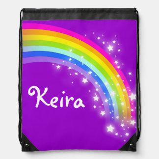 Name purple rainbow stars drawstring bag