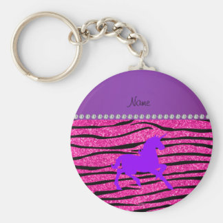 Name purple unicorn hot pink glitter zebra stripes key chain