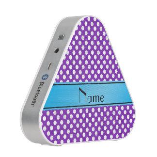 Name purple white polka dots blue stripe bluetooth speaker