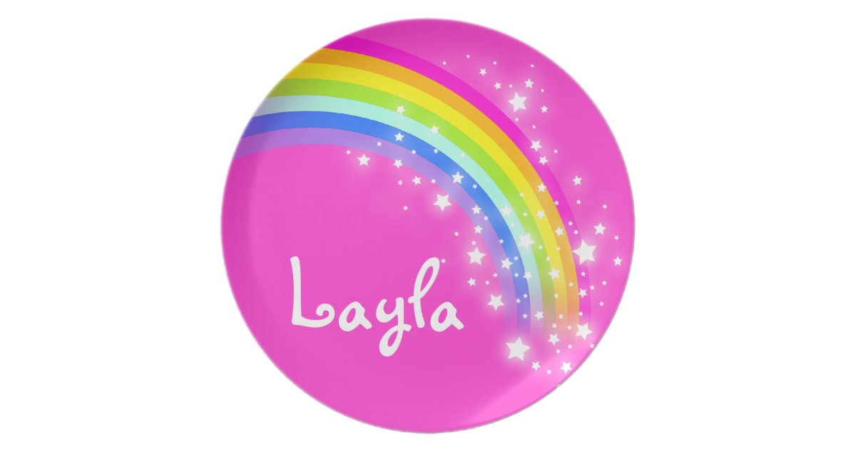 Name_rainbow_layla_pink_girls_kids_plate 115477624678340096 on Paper Plate Grandparents Day Craft
