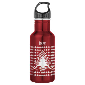 Name: Red and White Christmas Tree Font (18) 532 Ml Water Bottle