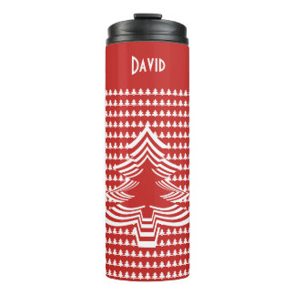 Name: Red and White Christmas Tree Font Art Thermal Tumbler