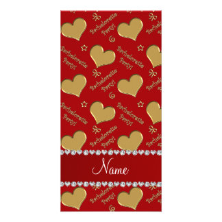 Name red gold hearts bachelorette party photo cards