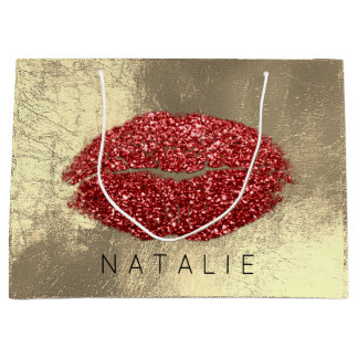 Name Red Metal Kiss Lips Glitter Champagne Gold Large Gift Bag