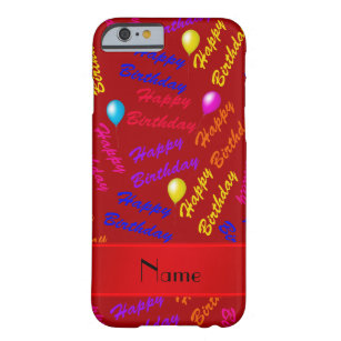 Name Red Rainbow Happy Birthday Balloons Barely There IPhone 6 Case