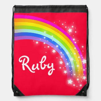 Name red rainbow stars drawstring bag
