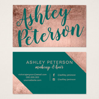 Name rose gold green hair makeup typography business card