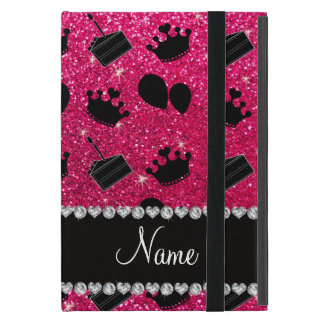 Name rose pink glitter crowns balloons cake iPad mini covers