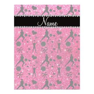 Name rose pink glitter volleyballs hearts bows flyer