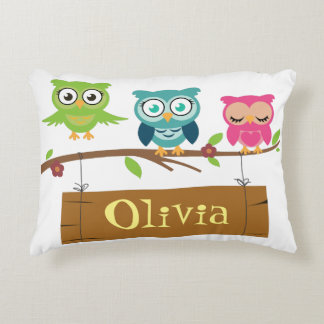 Name sign design with cute owl elements for kids. decorative cushion