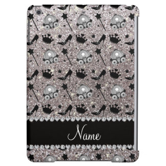 Name silver glitter princess crowns wand stars iPad air case