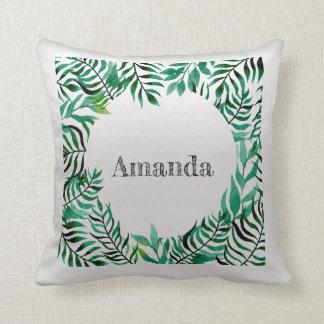 Name Silver Gray Grey Greenery Tropical Frame Cushion
