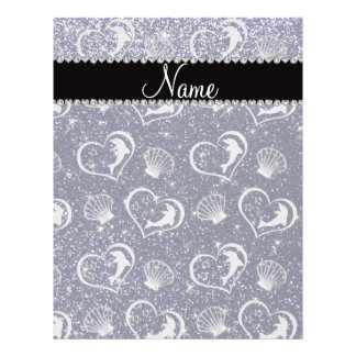 Name silver hearts dolphins navy blue glitter 21.5 cm x 28 cm flyer