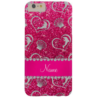 Name silver hearts dolphins rose pink glitter barely there iPhone 6 plus case